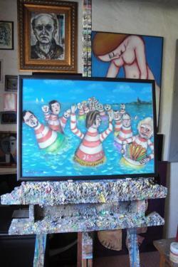 2012 - Heulbojen in Öl Maler Wolfgang Eckhardt restauriert Heulbojen-Bild