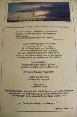 2017 - Verabschiedung R. Karl in den Ruhestand 28.11.2017